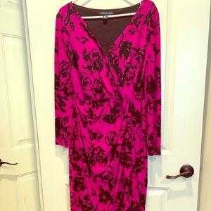 Faux wrap dress w/ built in shape wear